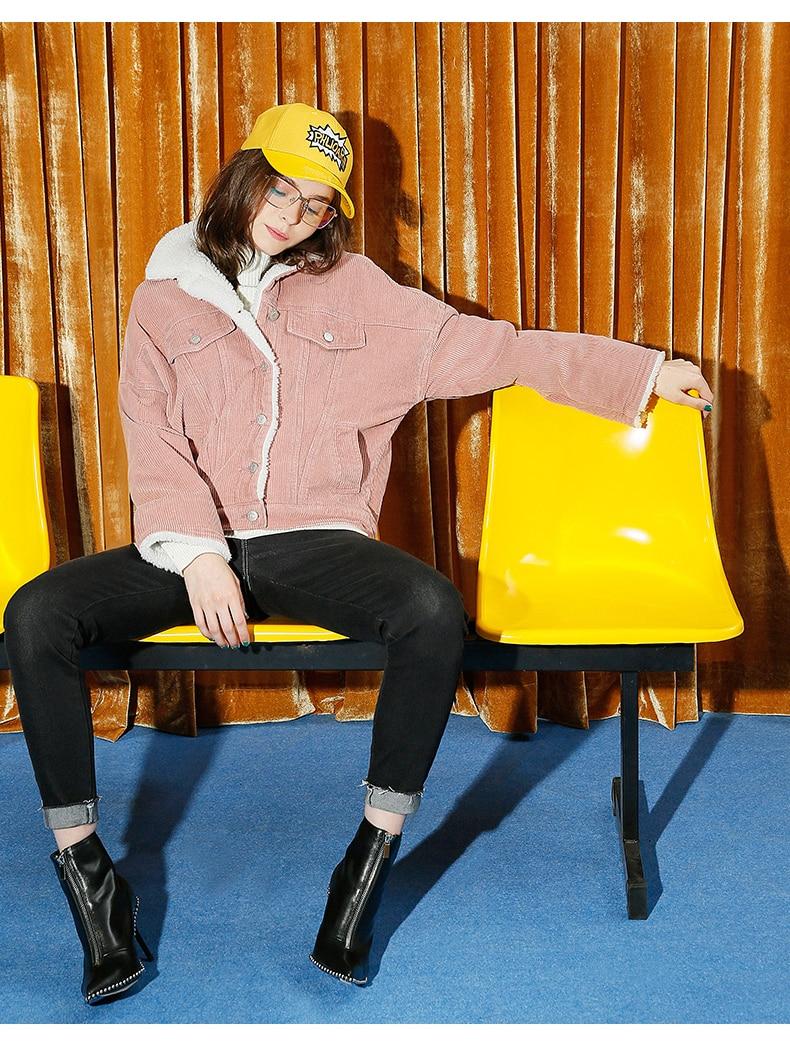 Toyouth Autumn Winter Corduroy Basic Jacket Lambswool Bomber Jacket Women Long Sleeve Jacket Casual Single Breasted Denim Jacket 15