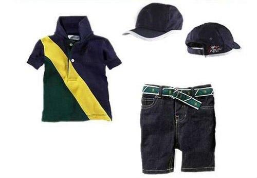 Горячая Распродажа Одежда для мальчиков комплект одежды из 3 предметов; модная футболка в полоску+ укороченные штаны+ Милая шапочка комплекты летняя одежда 1 компл./лот r4013