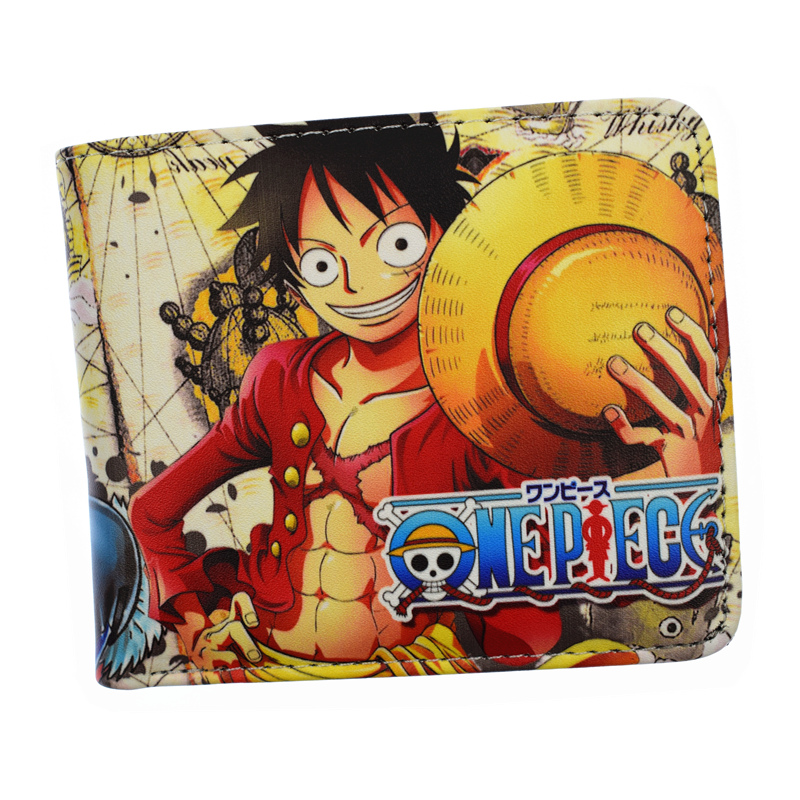 New Arrival PU Wallet One Piece With Coin Pocket Card Holder Short Purse japanese anime poke death note attack on titan one piece game ow short wallet with coin pocket zipper poucht billetera