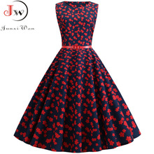 Summer Dress Women Sleeveless Floral Print Vintage Dress Casual Tank Retro 50s 60s Robe Rockabilly Chic Party Dresses Vestidos