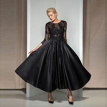 Tanpell black evening dress appliques beading scoop neck zipper-up women prom gown custom formal a line dresses