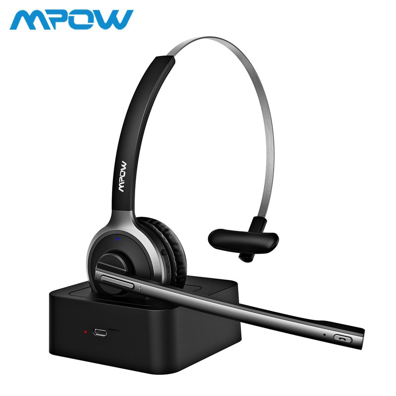 Mpow BH231 Bluetooth 4.1 Headphones With Mic Charging Base Wireless Headset For PC Laptop Call Center Office 18H Talking Time 1 2 pack mpow pro professional wireless bluetooth headphone with microphone 13h talking time for driver call center skype office