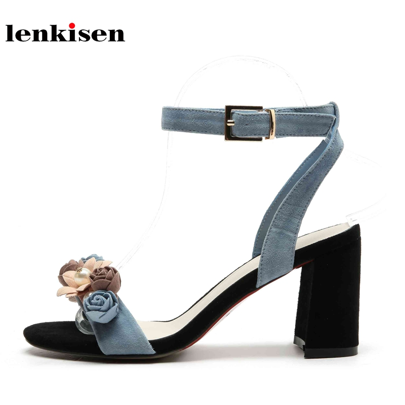 Lenkisen genuine leather peep toe buckle straps young lady casual high fashion summer shoes flowers decoration