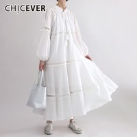 CHICEVER Autumn White Lace Dresses For Women Loose Hollow Out Lantern Sleeve Women's Long Dress Female Korean Fashion Clothing