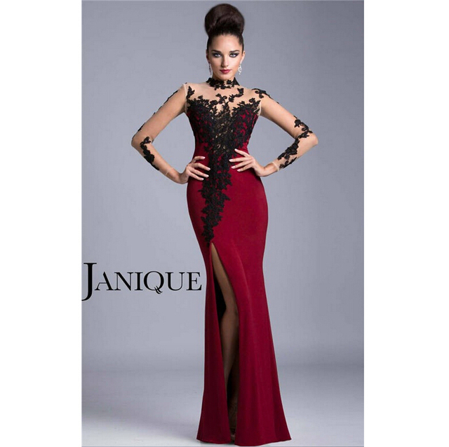 1b80ae6f217f7c Mermaid High Collar Long Jersey Sheer Zip Back Wine Red Evening Dress With  Side Slit