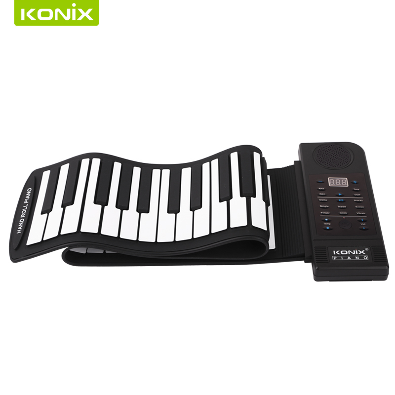 61 keys 128 tones roll up piano with speakerand 2pcs in one lot hand roll up piano for sale