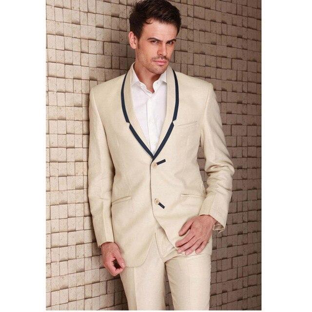 Costume Homme Custom Made Handmade Beige Men Slim Fits Suits ...