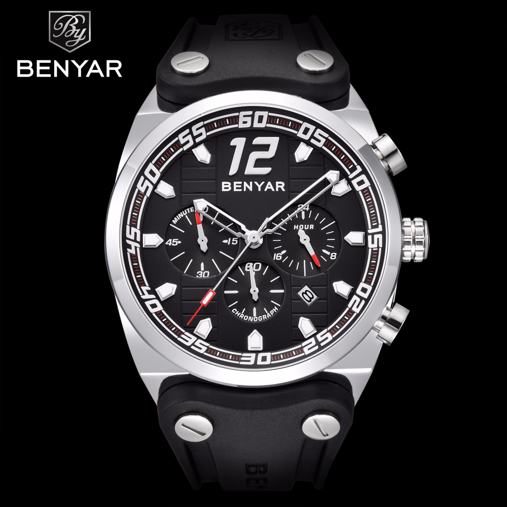 Benyar Sport Chronograph Mens Watches Top Brand Luxury Silicone Strap Quartz Watch Men Waterproof Male Clock Relogio Masculino benyar big dial silicone sport men watch top brand luxury quartz chronograph waterproof wrist watch male clock relogio masculino