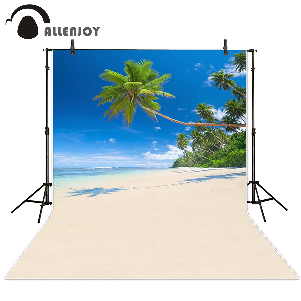 Allenjoy scenery photo backdrop Summer trip island forest coconut tree beach photocall the cloth backgrounds for photo studio