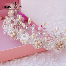 New 2015 Handmade Bride Golden Crystal Pearl  Luxury Rhinestone Lace  Bridal Tiara Headband Wedding Hair Accessories