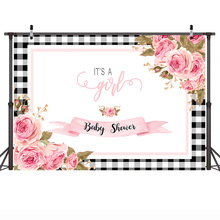 Mehofoto Newborn Baby Shower Photography Backdrop for Girl White and Black Plaid Background Pink Flowers Backdrops
