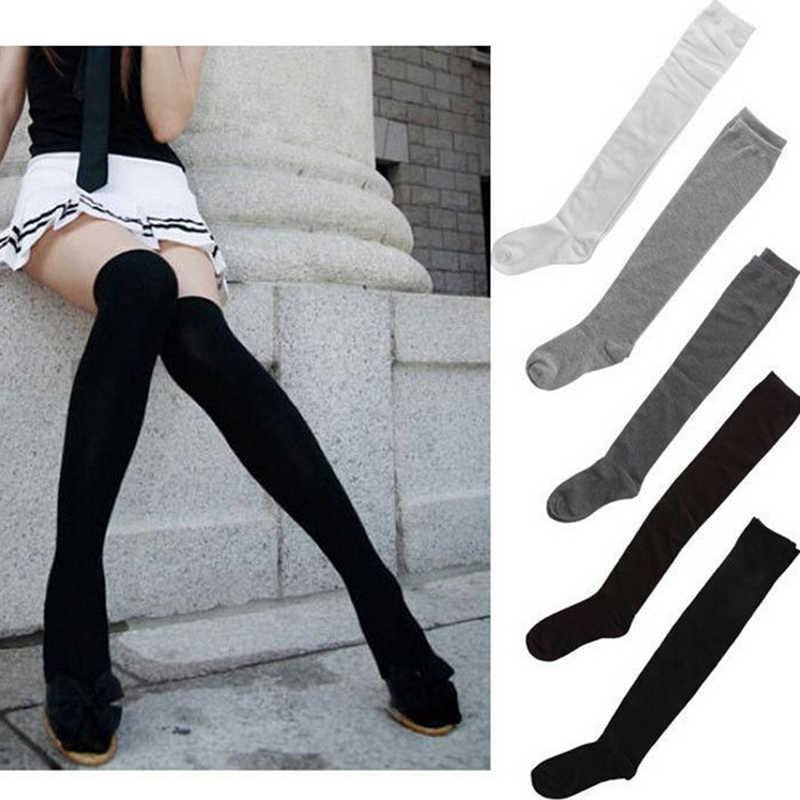 1 คู่ผ้าฝ้ายเซ็กซี่กว่าถุงเท้าเข่าต้นขาสูงถุงน่องทินเนอร์สีดำสีเทาสีขาวยาวถุงน่อง Drop Shipping