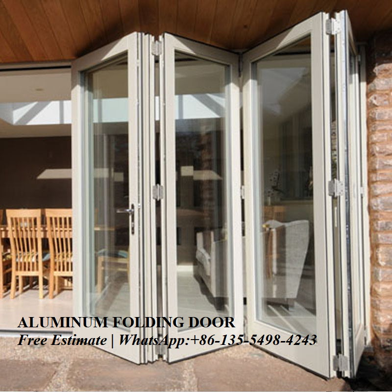 Heat Insulation Waterproof Thermal Break Aluminum Folding Door,Aluminium Double Glass Folding Door For Entrance