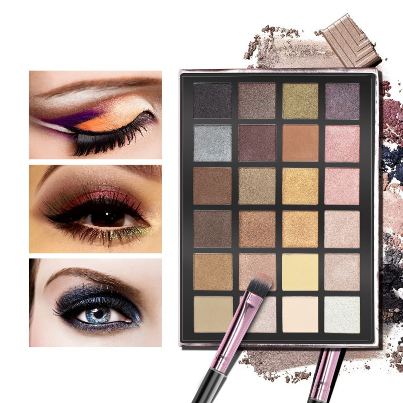 24 Colors Within 3 Eyeshadow Brushes Shimmer Glitter Long-lasting Waterproof Shimmer Eyeshadow Palette Professional Makeup New