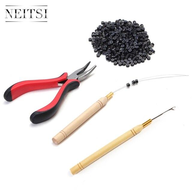 Neitsi 1Pc Tang + 1Pc Haak Naalden + 1Pc Loop Puller 500 Stuks Siliconen Micro Ring kralen Een Set Haar Tools Voor Hair Extensions