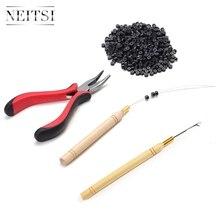 Neitsi 1pc szczypce + 1pc Hook Needles + 1pc Loop Puller + 500 sztuk silikonowe mikro pierścień koraliki jeden zestaw narzędzia do włosów do przedłużania włosów