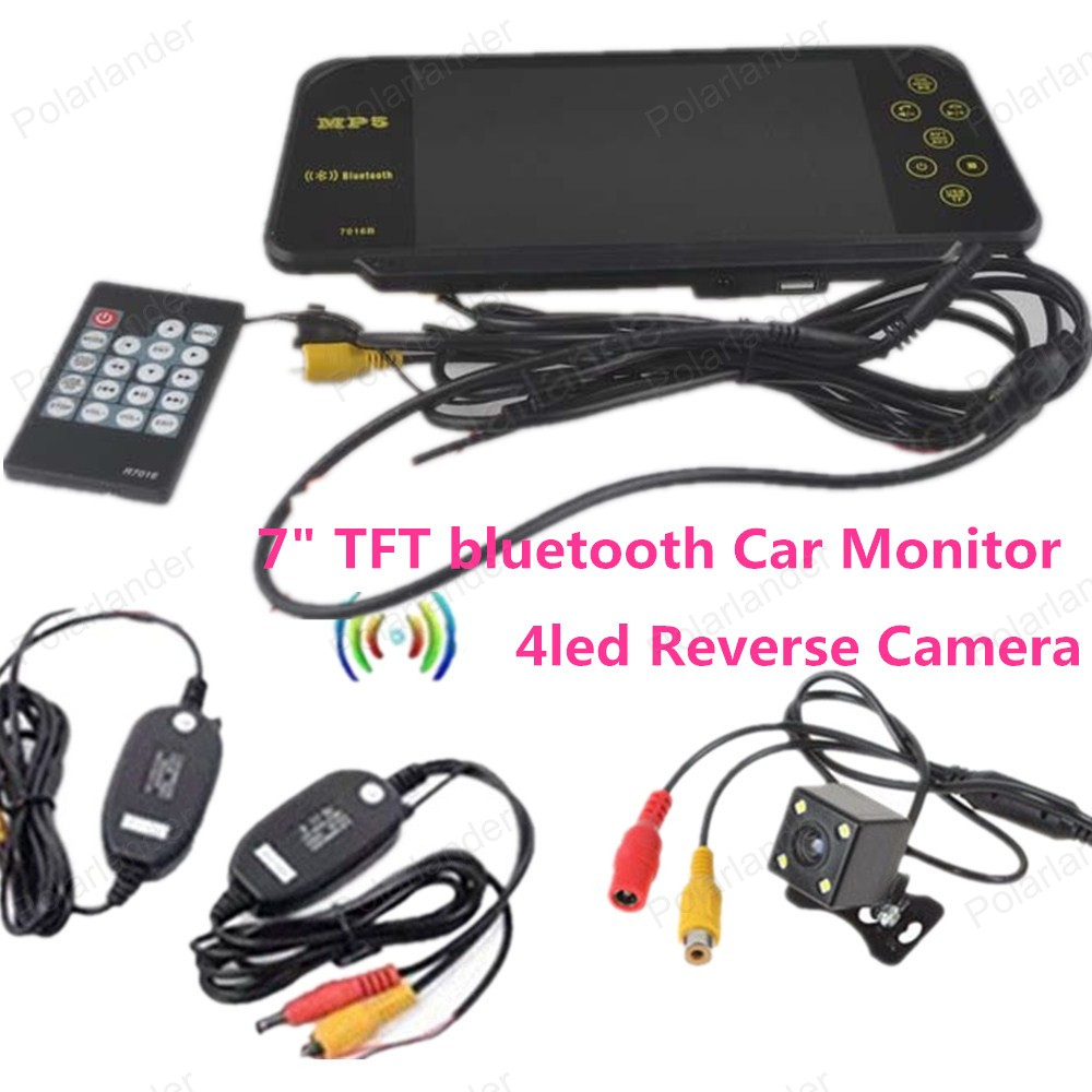 4led reverse camera for car parking reversing with 7 Inch TFT LCD Color Display Screen Car Rear View bluetooth Monitor 4 way input 7 inch tft lcd screen car monitor rear view display for rearview reverse backup camera car tv display for truck