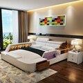 Conjuntos de mobiliário de quarto de luxo de couro moderno cama de casal queen size com estante de armazenamento de cabeceira regulável sem colchão macio
