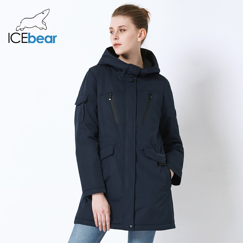 Image 2 - ICEbear 2019 new fall women jacket high quality casual ladies jacket slim hooded brand jacket GWC18010I-in Parkas from Women's Clothing