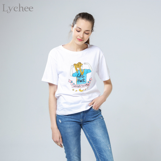 Lychee Harajuku Summer Women T-Shirt Sailor Moon Girl Power Cartoon Letter  Short Sleeve Tee Top 4fc89facb896