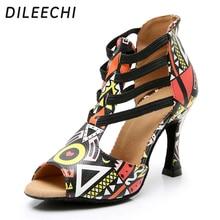 DILEECHI New Featured print Dance Shoes For Women Latin Salsa Dance Boots Paty Ballroom Dance Shoes Women Shoes cuban heel 9CM