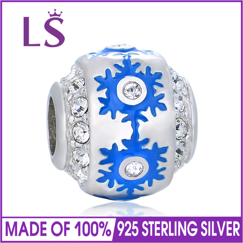 LS Authentic 925 Sterling Silver Bead Charm Antique Snowflake Round Beads Fit Bracelets & Bangles Women DIY Gift Jewelry