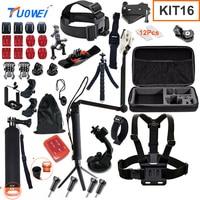 TuoWei Sports Camera Accessories Set For GoPro Hero 5 4 3 Kit Mount For SJCAM SJ4