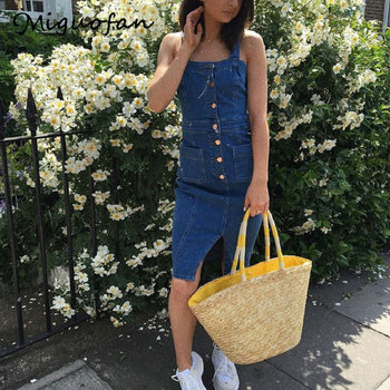 Denim Dress For Women Fashion England Style Denim Button Dress Pocket Brief Solid Sleeveless Empire Square Collar Dresses Female button front sleeveless dress