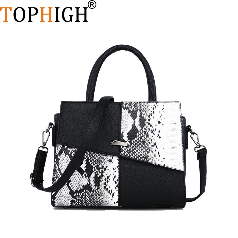 TOPHIGH Women's Bag Snake Skin Print Shoulder Bag Cross Body Fashion Leather Shoulder Bags Totel Bags For Woman