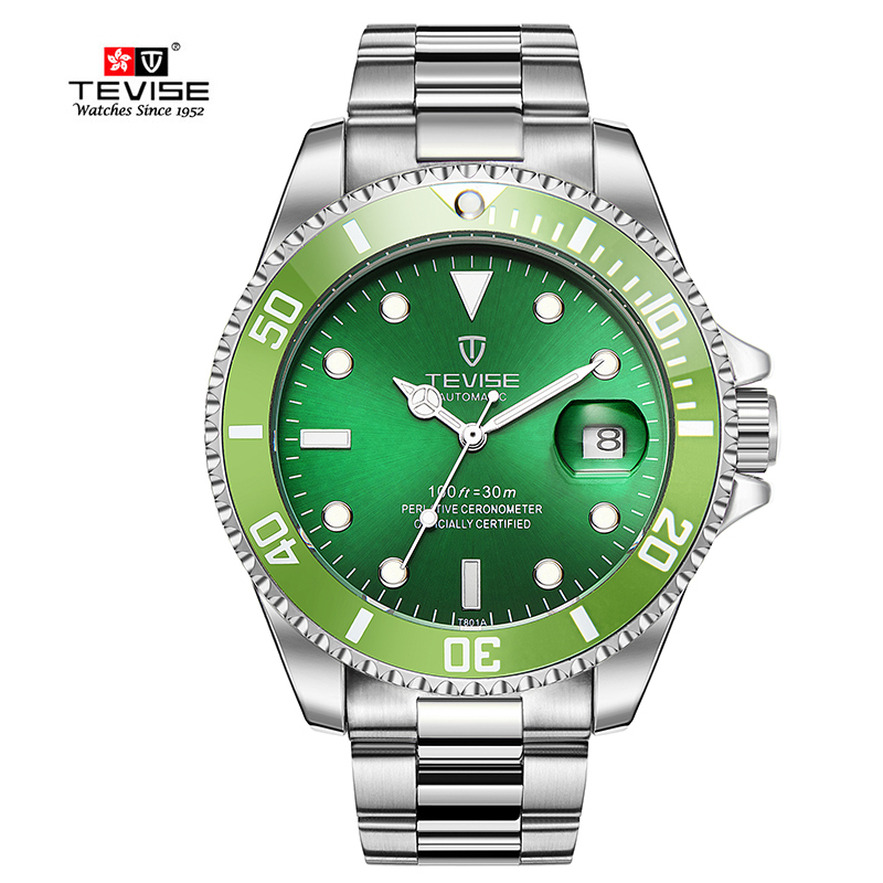 TEVISE Automatic Self-Wind Watches Auto Date Stainless Steel Silver Green Watch Men Mechanical Clock Wristwatch with tool luxury brand t winner self wind mechanical watch men date display watches modern stainless steel band casual men clock gift 2017