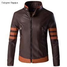 Plus M- 5XL New Windbreaker Mens Pu Leather Wolverines Jacket Black Slim Fit Biker Motorcycle Jackets and Coat Tactical