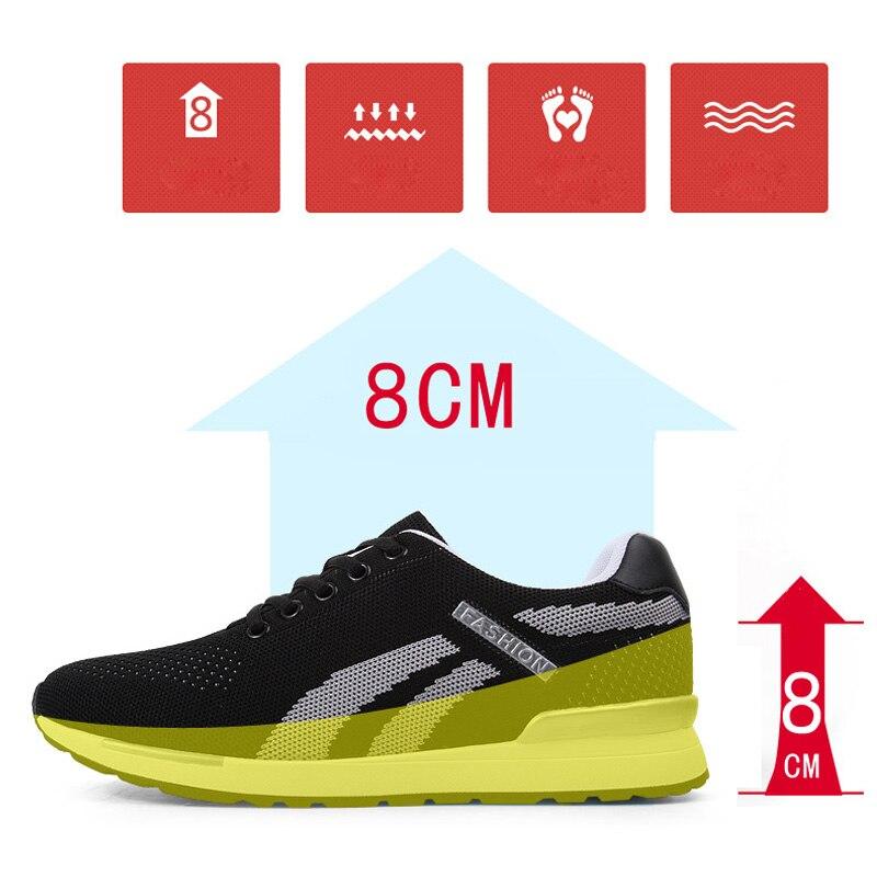 Rehausseur chaussures ascenseur chaussures hauteur augmenter chaussures pour hommes hauteur augmenter semelle intérieure 8 CM hommes baskets Sport noir chaussures