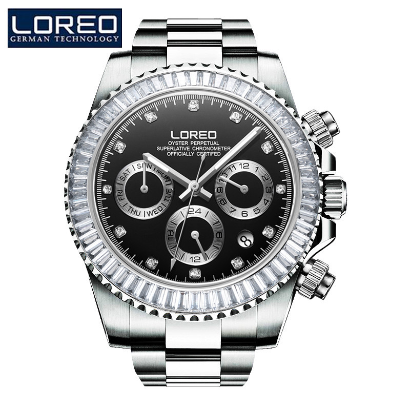 LOREO Men Luxury Watch Stainless Steel Watches Seagull Automatic Mechanical Wristwatch Gift Box Relogio Releges Reloj Hombre J85 winner men luxury brand self wind skeleton leather crystal analog watch automatic mechanical wristwatch gift box relogio releges