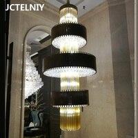 Новый роскошный большой заказ лестница хрустальная люстра гостиная светильник украшения освещение в лобби отеля светодиодный свет