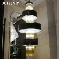 New luxury large custom staircase crystal chandelier living room decoration lamp hotel lobby lighting LED lights