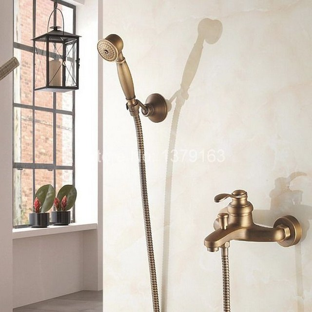 Antique Brass Wall Mounted Bathroom Single Handle Bathtub Faucet Tap