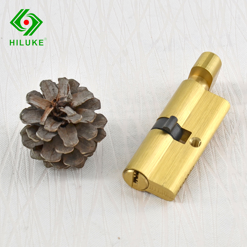 HILUKE 70mm brass alloy lock core security single open door lock cylinder five keys high quality hiluke 70mm brass lock cylinder 5pics brass key with two line and button europe standard safe door lock core single open