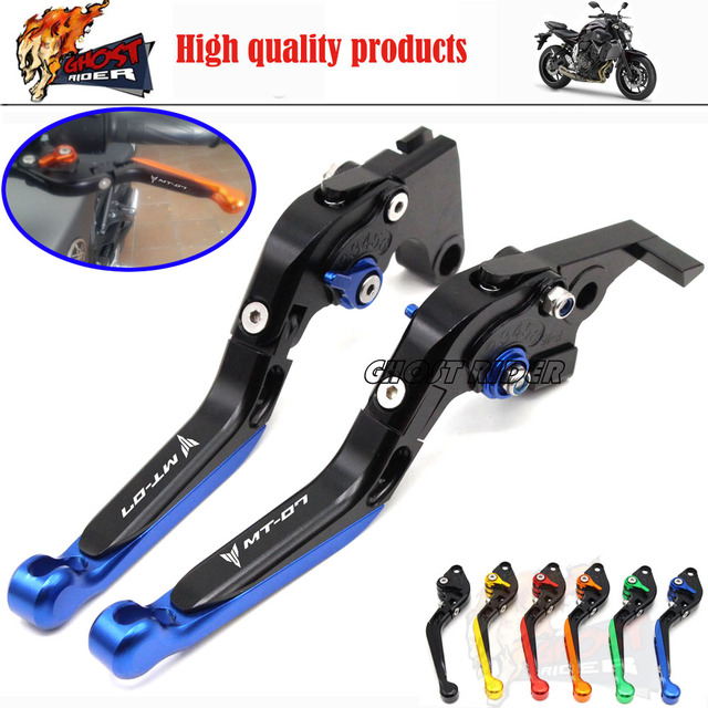 For YAMAHA MT-07 MT 07 2014-2015 Motorcycle Accessories Adjustable Folding Extendable Brake Clutch Levers LOGO MT-07 Blue