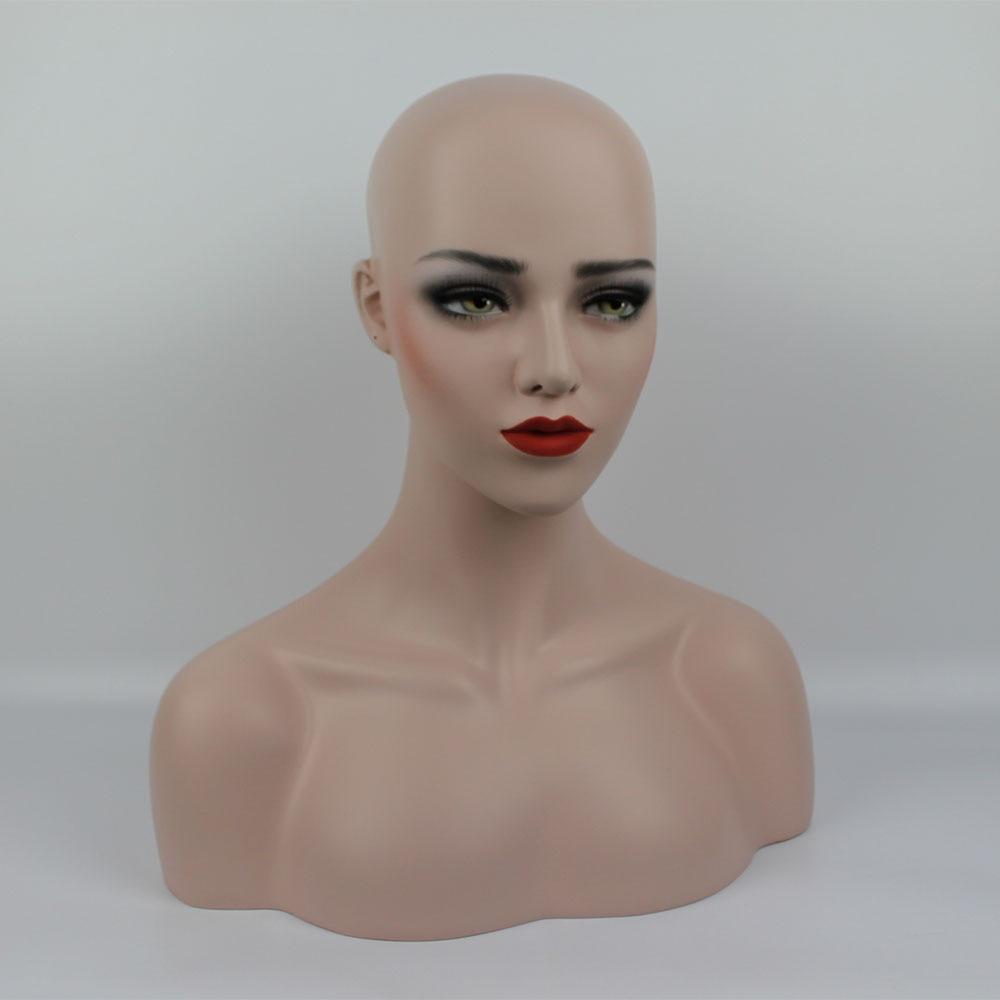 Plus la Taille En Fiber De Verre Réaliste Femelle Mannequin Têtes, Mannequin Tête de Mannequin Buste, Perruques Tête Affichage