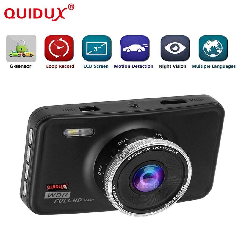 QUIDUX Original 3.0 inch Car Dvr Full HD 1080p Recorder Novatek 96223 Dashcam Camera Video Registrator G-sensor WDR Dash Cam