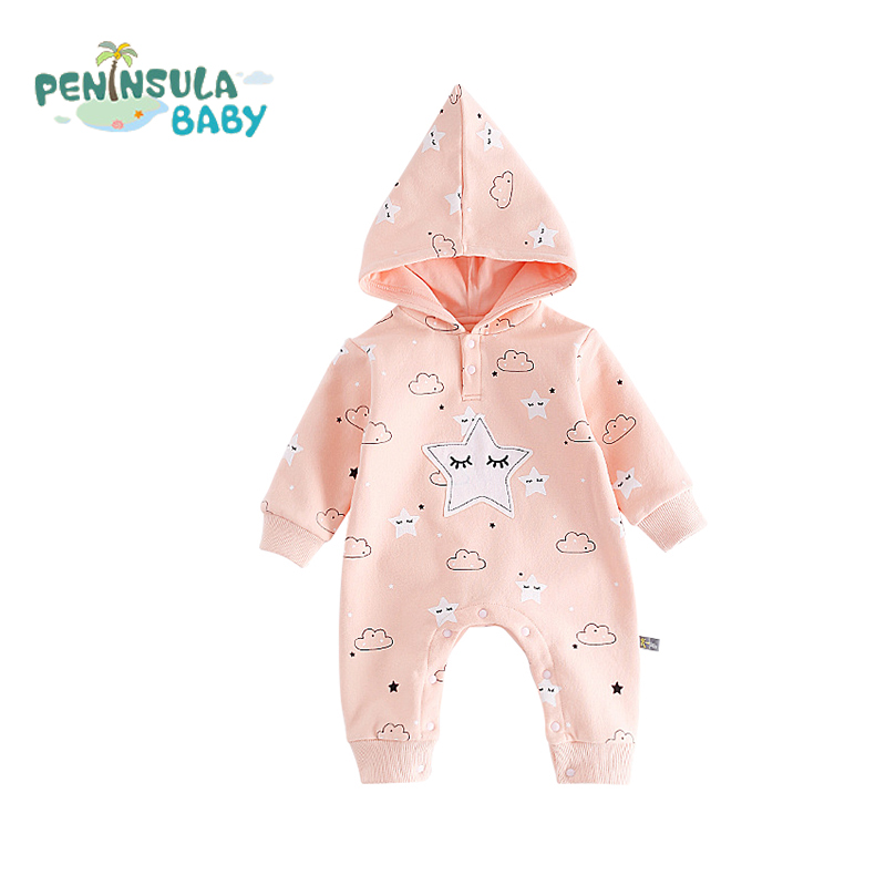 Autumn Newborn Kids Clothes Long Sleeve Hooded Fashion Baby Rompers Girls Boys Children Clothing Cotton Cartoon Infant Jumpsuit baby rompers 2016 spring autumn style overalls star printing cotton newborn baby boys girls clothes long sleeve hooded outfits