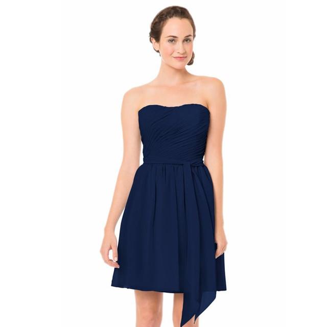 Azul medianoche Cortinas de Gasa Corto vestido De Dama De Honor ...