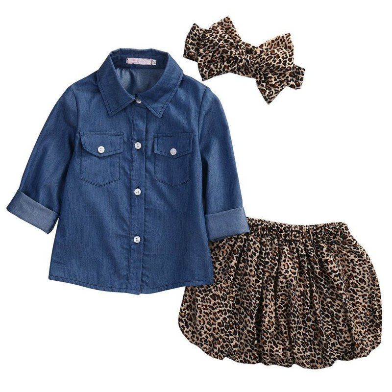 Summer New Hot Sale Fashion Set For Toddler Baby Girls Long Sleeve Denim Shirt Leopard Mini Skirt Bow Headband Kids Clothes