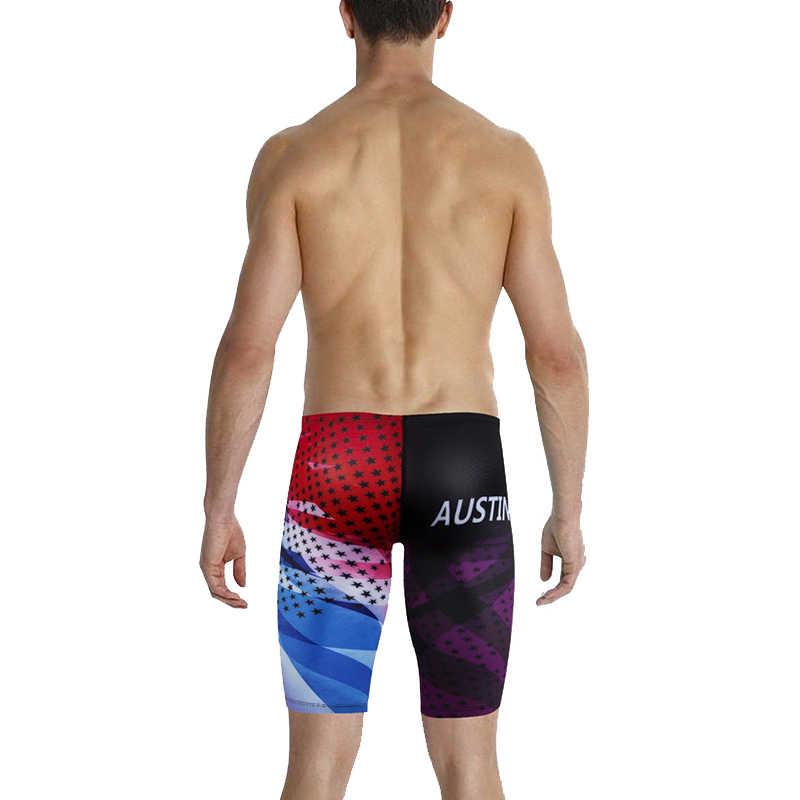 97d63cb07e ... OKUQUBE New Men Swimming Trunks Nylon Swimwear Professional Swimsuit  Elastic Beachwear Printed Bathing Suit Tight Surfing ...