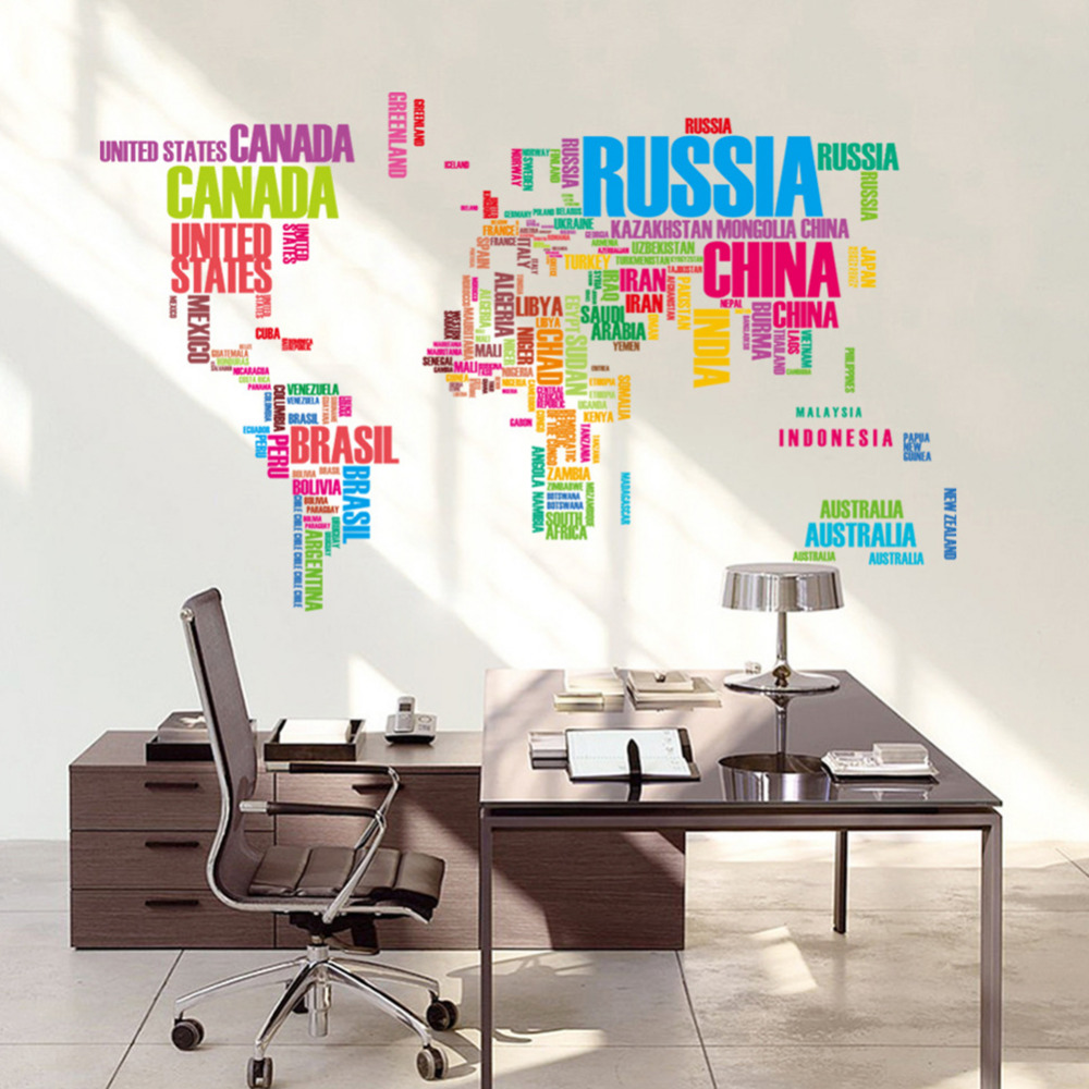 Carte Monde Murale Coloré Carte Du Monde Stickers Muraux Amovible Vinyle Stickers Creative Lettres Carte Murale Art Accueil Salon Bureau Enfants Room Decor
