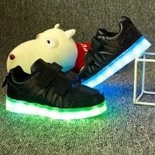 2017 Kids Shoes Luminous Glowing Sneakers Light Up Boys&Girls Tenis Led Infantil Light Lights Illuminated Chaussure Enfant Fille