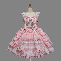 Lolita Dress Gothic Punk Lolita Francaise Cosplay Costume Pink Bowknot Ruffles Decorated Sweet For Fast Fashion Halloween Party