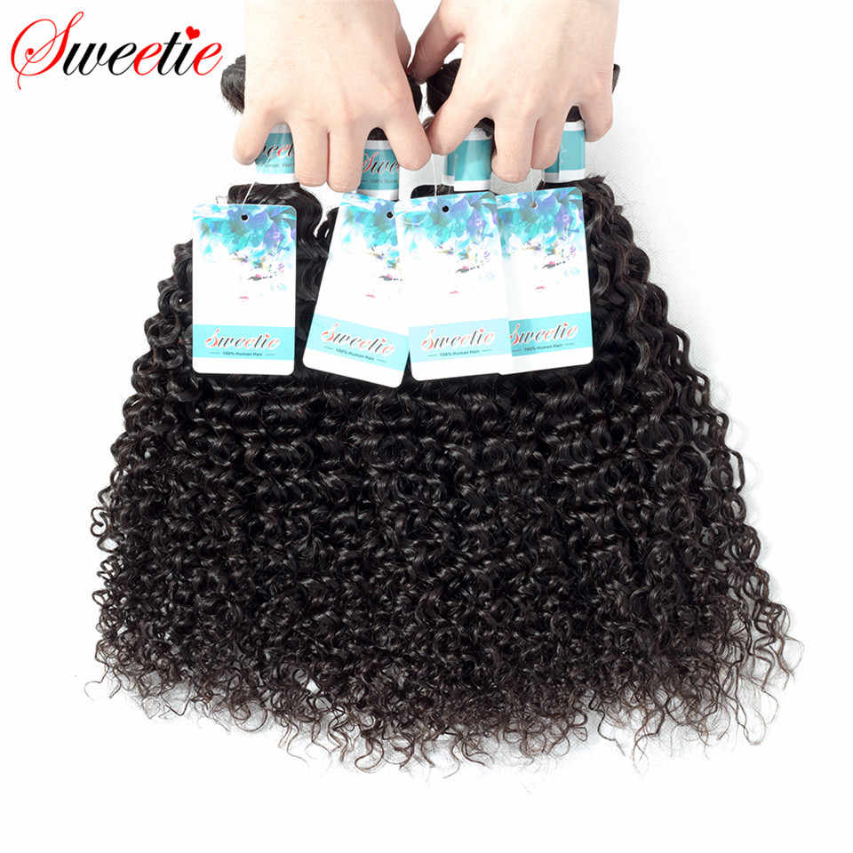 Конфетка индийские волосы афро странный вьющихся волос 100% вьющиеся человеческих волос Weave Связки Natural Цвет 1/3/4 шт 100 г-Remy