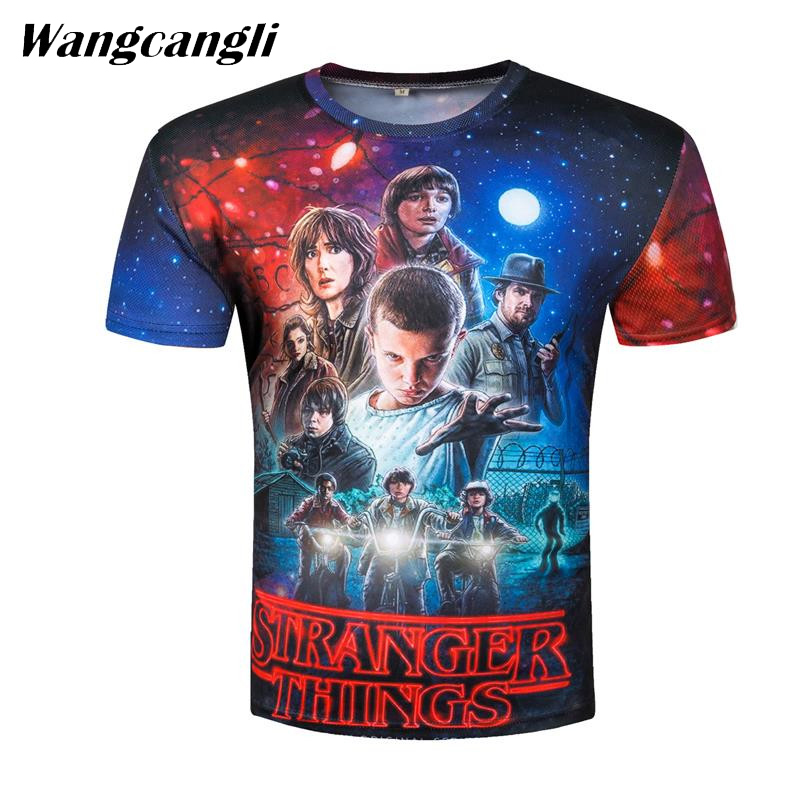 Wangcangli Stranger Things T-shirt for punk style 3D character design with short sleeve tops funny fitness summer mans T-shirt
