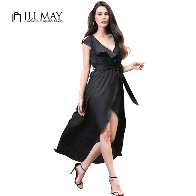 JLI MAY Summer Chiffon Split long dress sexy women Black Green Belted V-Neck Asymmetrical sleeveless Solid maxi beach dresses
